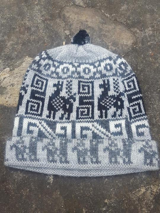 Beanie Andean Figure Light- Grey