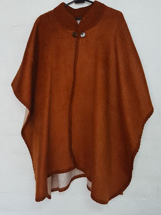 Alpaca Poncho Crocheted Neck Brick