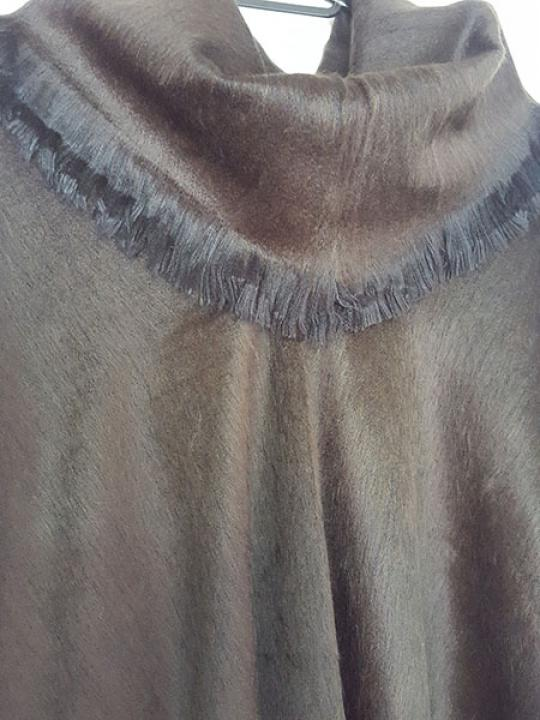 Alpaca Blend Poncho Brown Rolled Neck