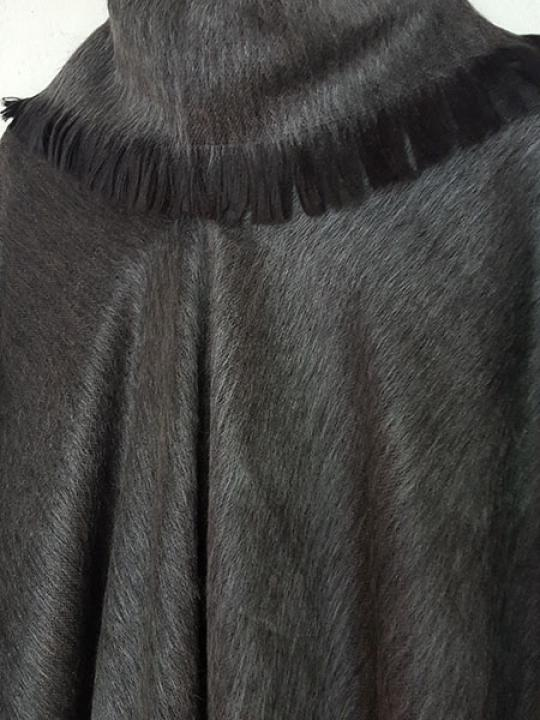 Alpaca Blend Poncho Grey Rolled Neck