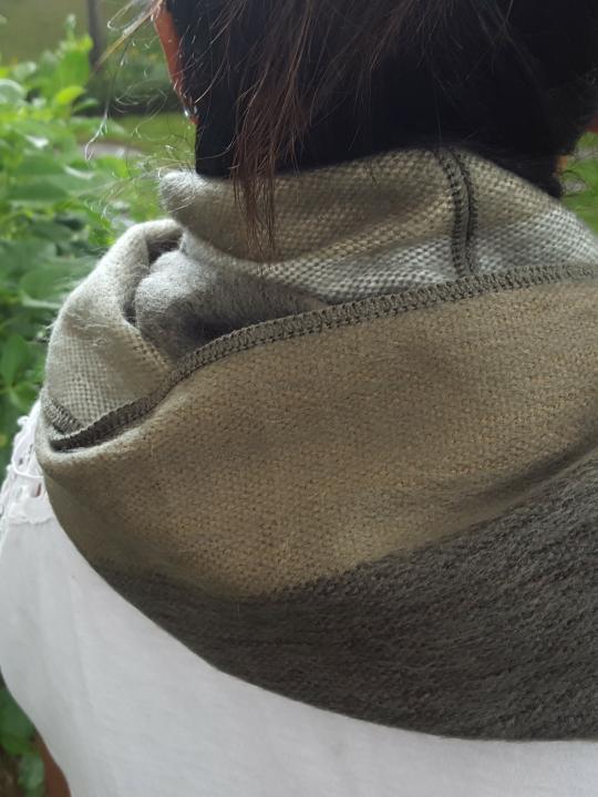 Alpaca Infinity Scarf Olive Green Stripes