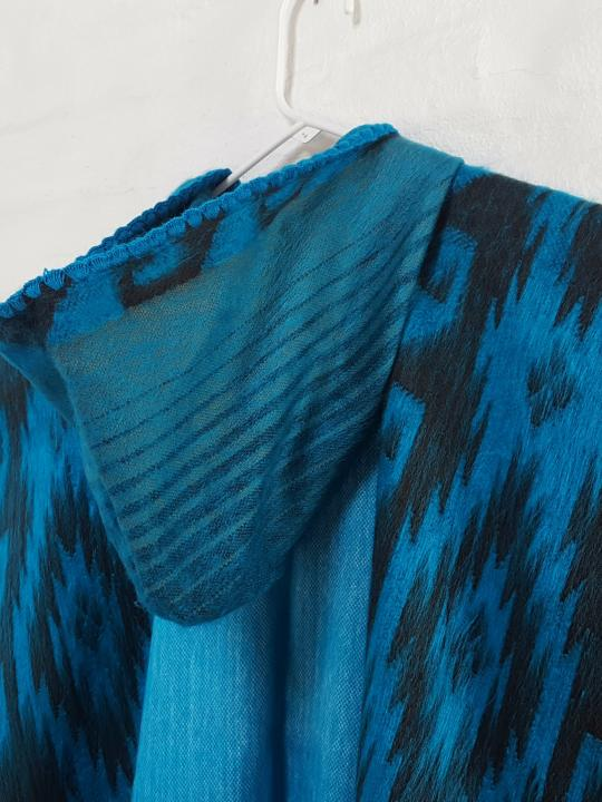 Alpaca Poncho Fringed Endings Turquoise Hooded