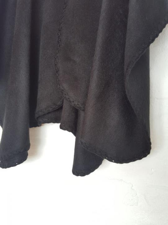 Alpaca Poncho Black Crocheted Neck
