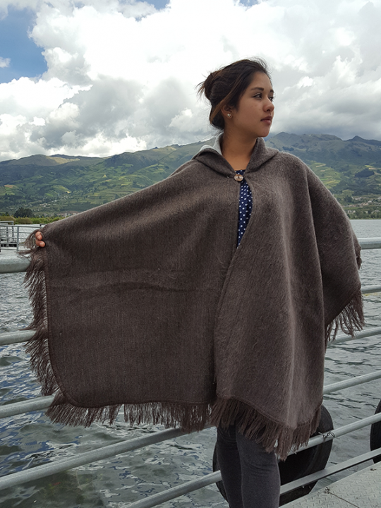Alpaca Poncho Hooded Brown