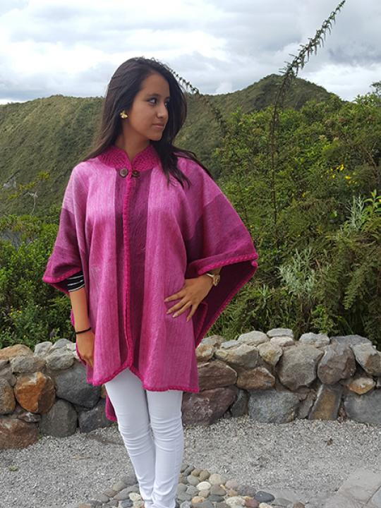 Alpaca Poncho Crocheted Neck Pink