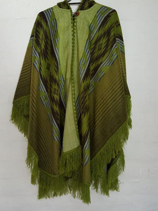Alpaca Poncho Hooded Green Stripes