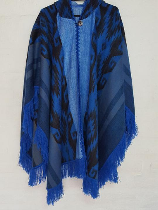 Alpaca Poncho Hooded Blue