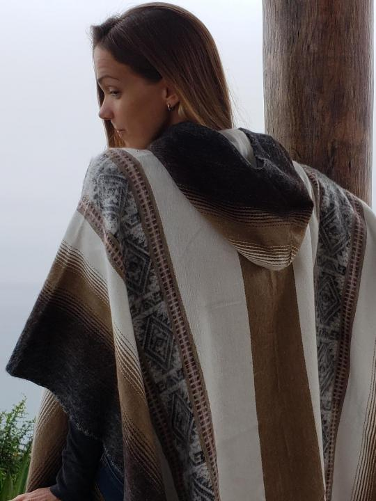 Alpaca Poncho Hooded Closed Shutter Brown, Cream, Gray w/stripes