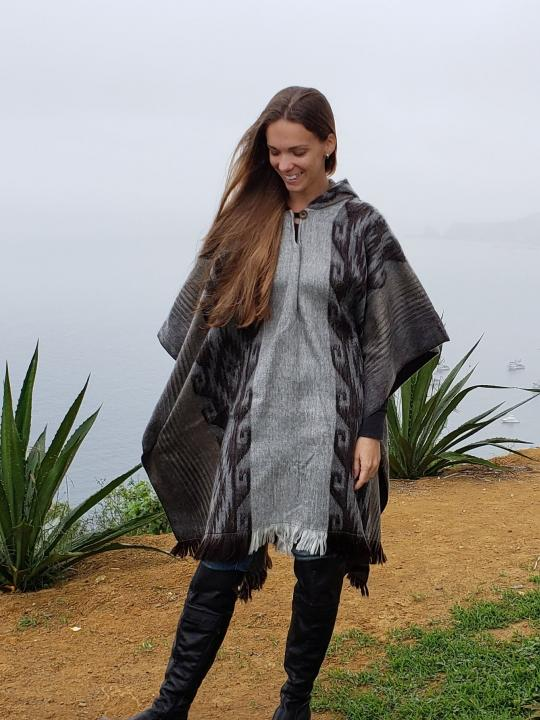 Alpaca Poncho Hooded Closed Gray w/stripe