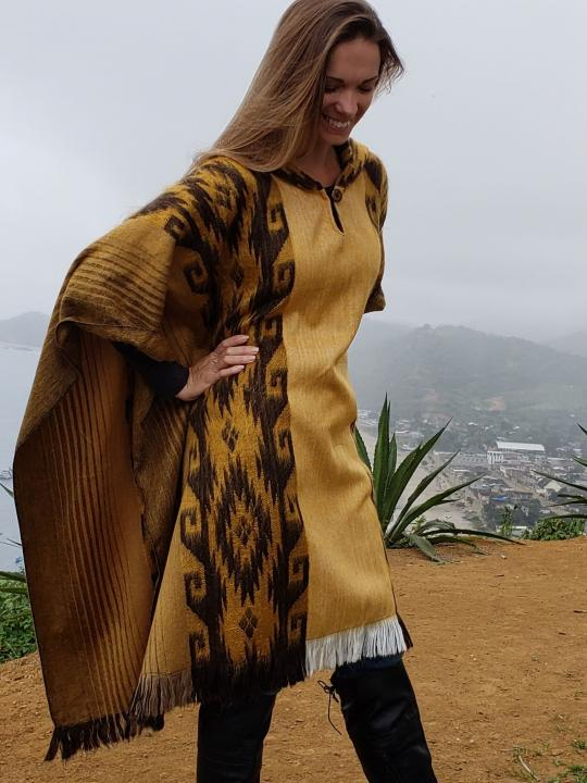 Alpaca Poncho Hooded Closed Mustard-Yellow w/stripes