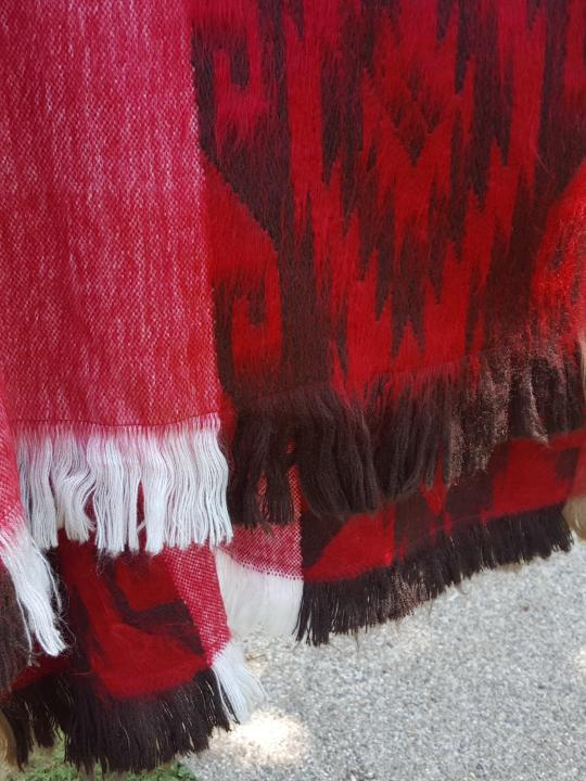 Alpaca Poncho Hooded Closed Red w/stripes