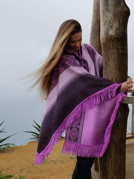Alpaca Poncho Hooded Fringed Endings Light Purple