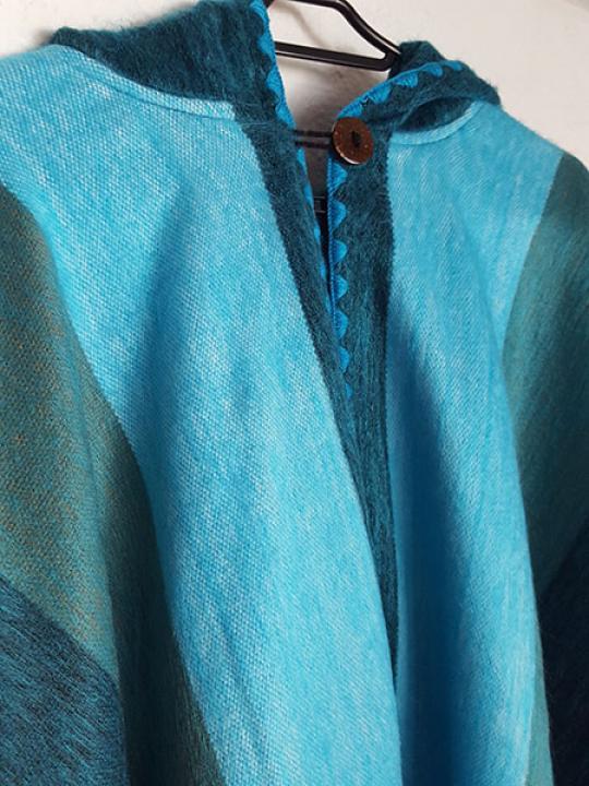 Alpaca Poncho Hooded Turquoise