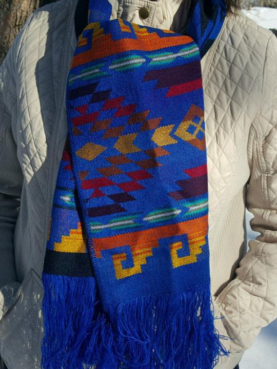 Alpaca Scarf Bright Blue Geometric Designs