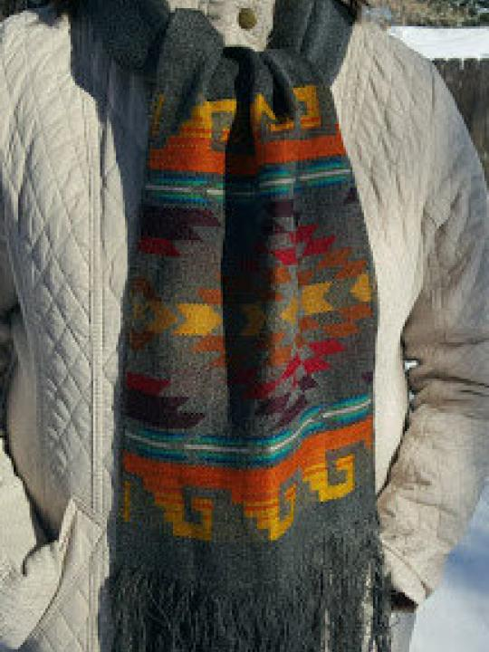 Alpaca Scarf Grey Geometric Designs