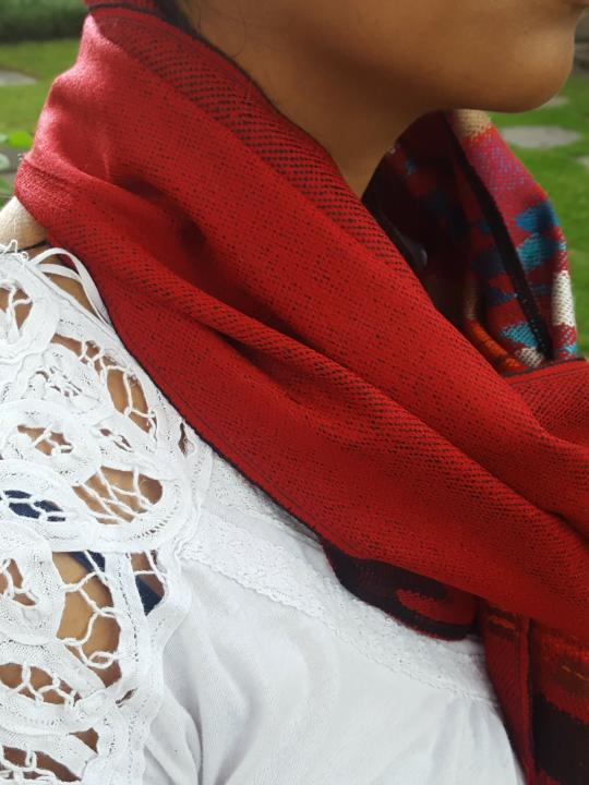 Alpaca Scarf Red Geometric Designs
