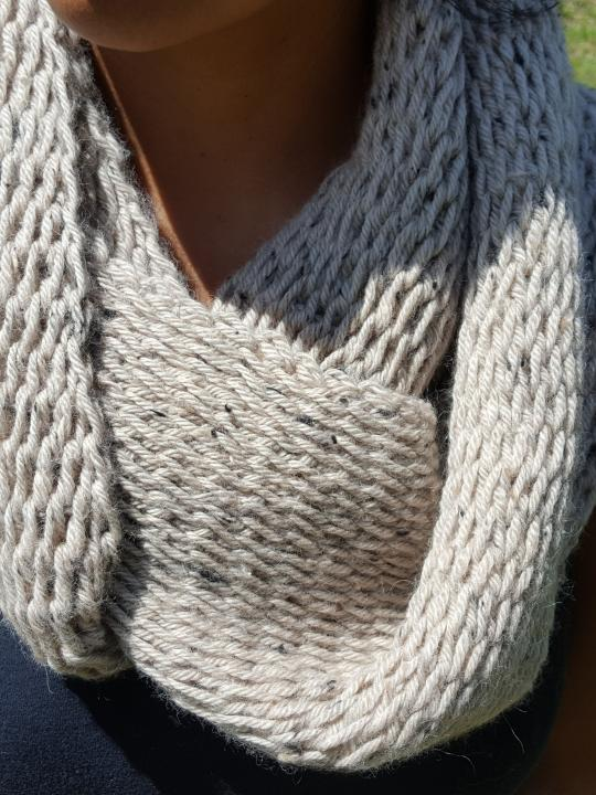 Alpaca Scarf, Warm, Hand Knitted Beige, 100% Natural