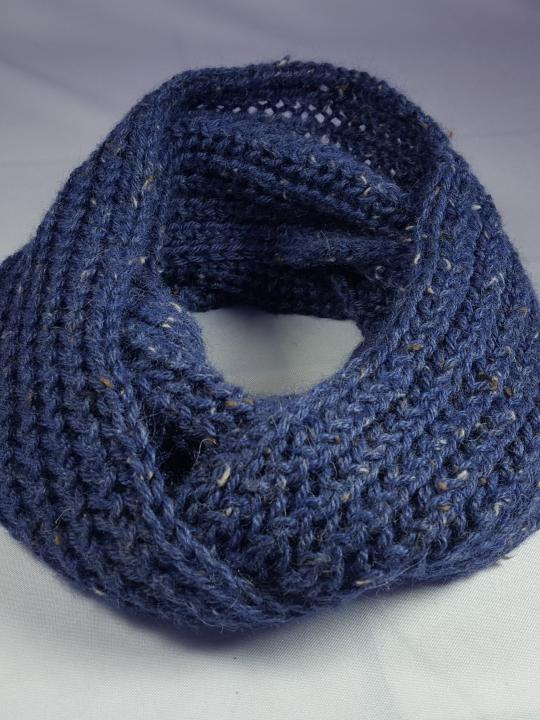 Alpaca Scarf, Warm, Hand Knitted Blue w/spots, 100% Natural