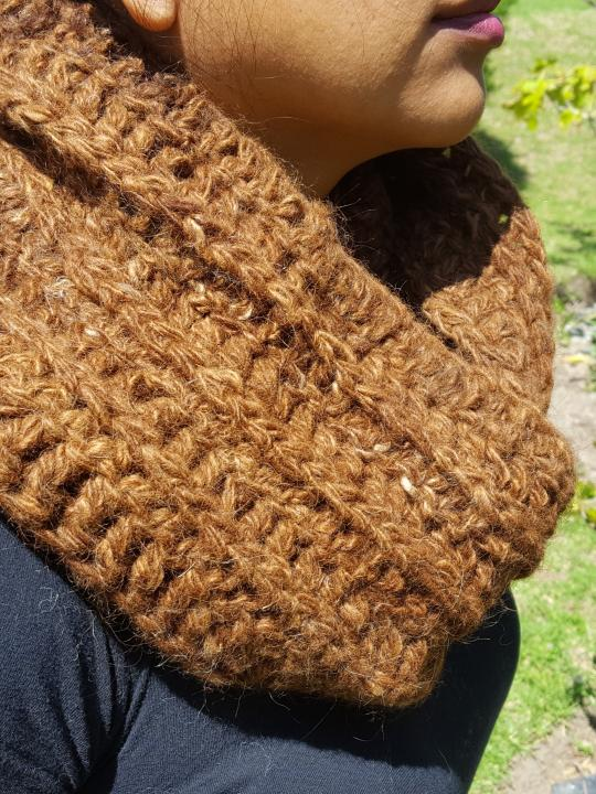 Alpaca Scarf, Warm, Hand Knitted Chocolate, 100% Natural