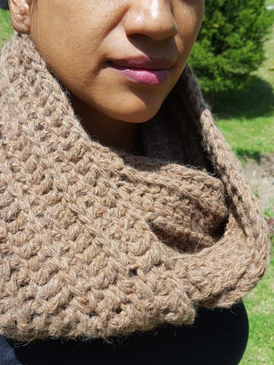 Alpaca Scarf, Warm, Hand Knitted Light Brown 100% Natural