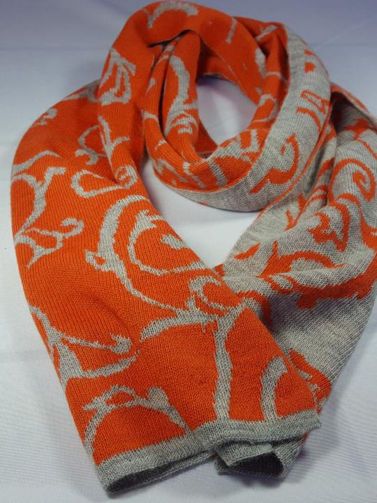 Alpaca Scarf, Warm, Light, Two in One, Orange & Gray, 100% Natural