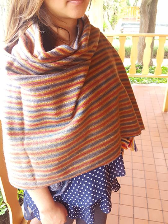 Alpaca shawl Blue