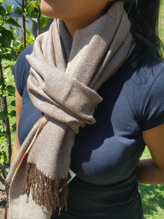 Alpaca Shawl, Warm, Light, Fringed Endings, Light Brown, Andean Design Endings