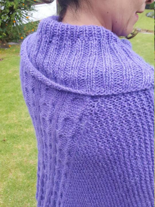 Alpaca Poncho made from 80% Alpaca Wool Purple