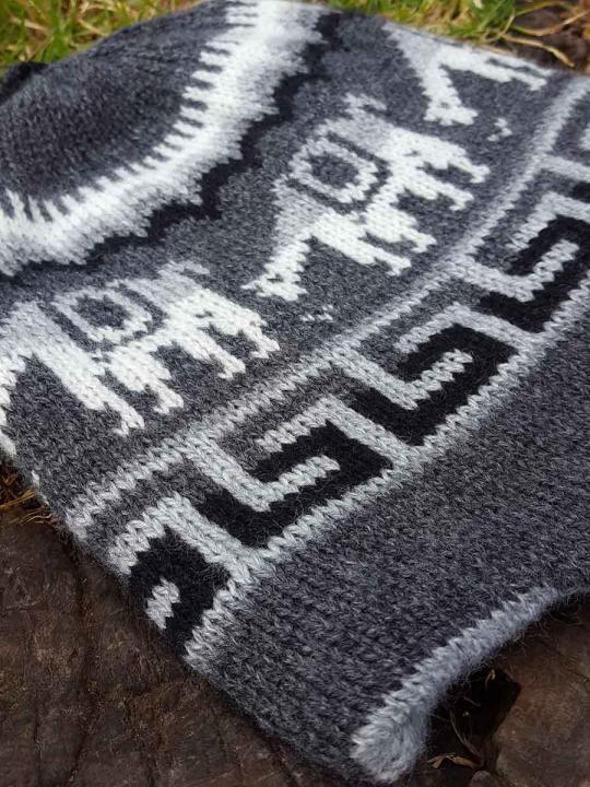 Beanie Alpaca Design Dark Grey
