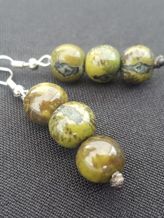 Earrings Acai Green Camouflage