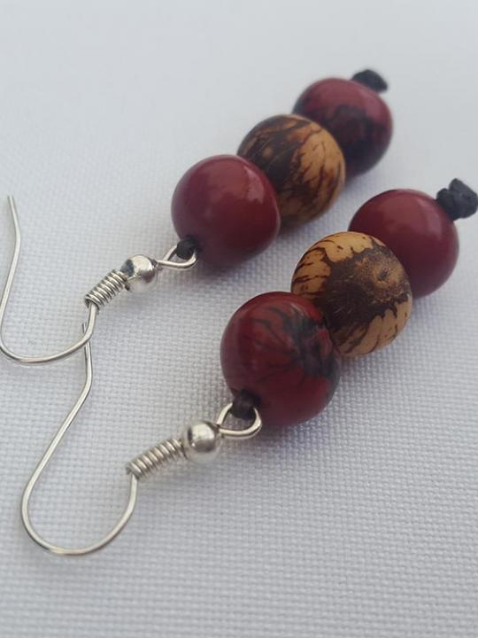 Earrings Acai Red Sierra-Cream
