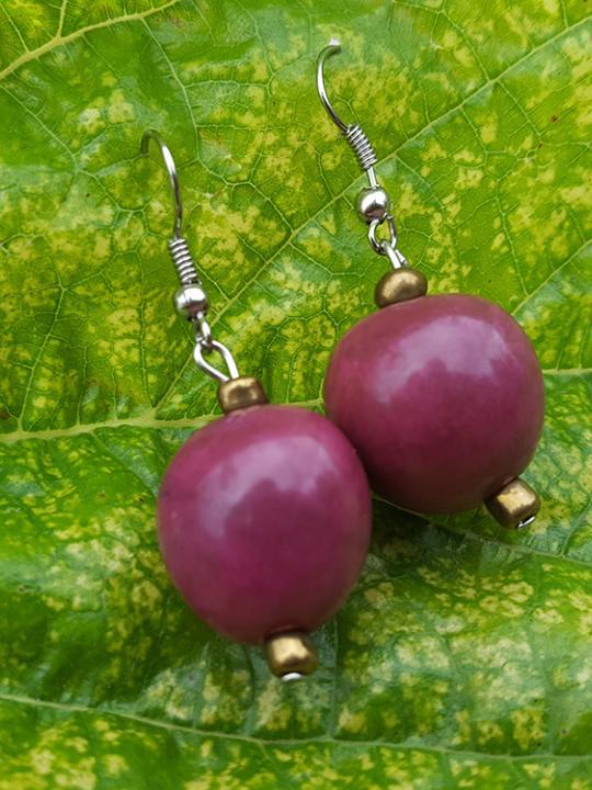 Earrings Pambil Dark Pink