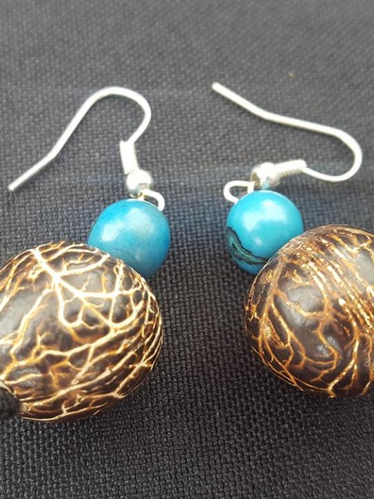 Earrings Pambil-Acai Brown-Blue