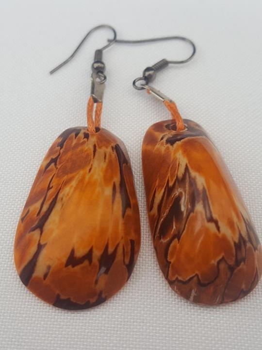 Earrings Tagua Orange Sierra