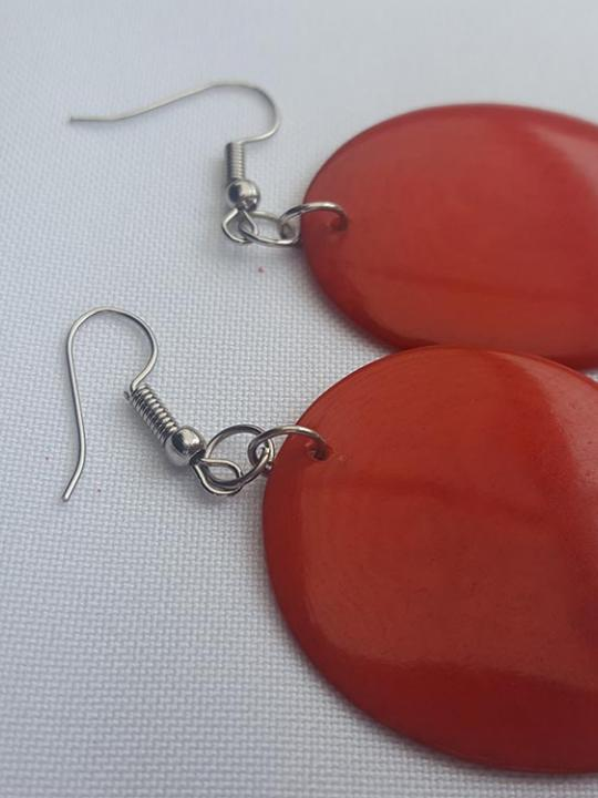 Earrings Tagua Red