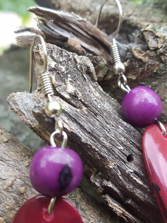 Earrings Tagua-Acai Fuchsia-Purple