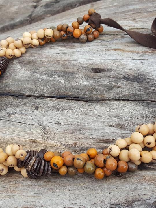 Necklace Acai Caramel & Orange Brown