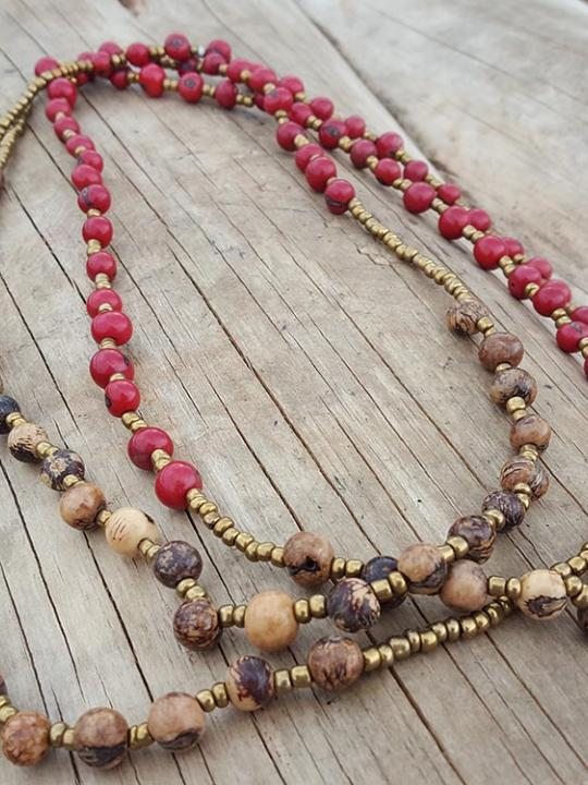 Necklace Acai Red-Cream & Brown