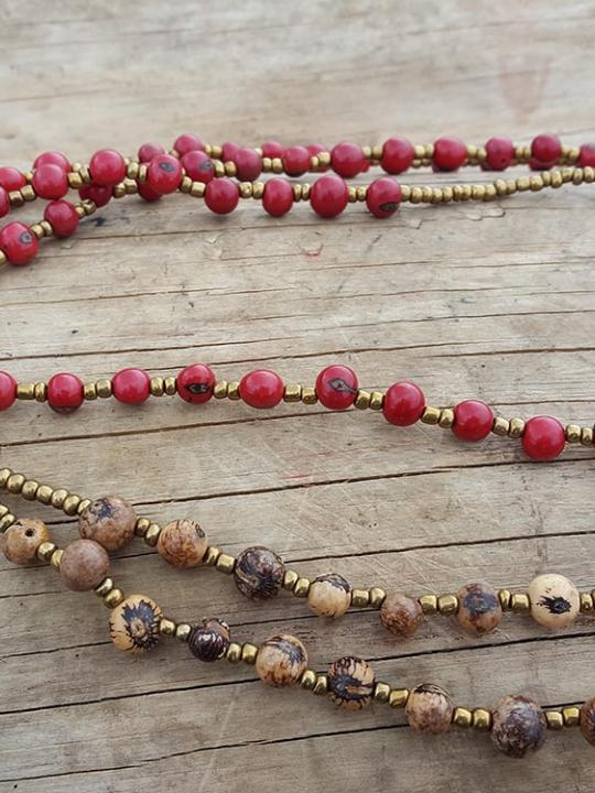 Necklace Acai Red-Cream & Brown