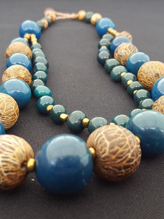 Necklace Pambil-Acai Brown and Blue