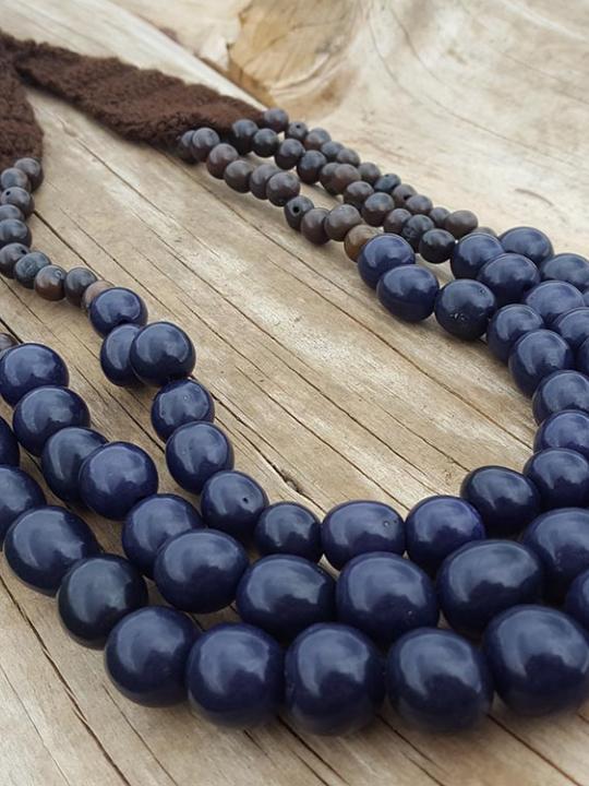 Necklace Pambil-Acai Dark Blue & Dark Brown