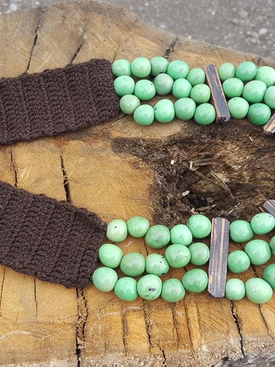 Necklace Pambil-Chonta Apple Green & Brown