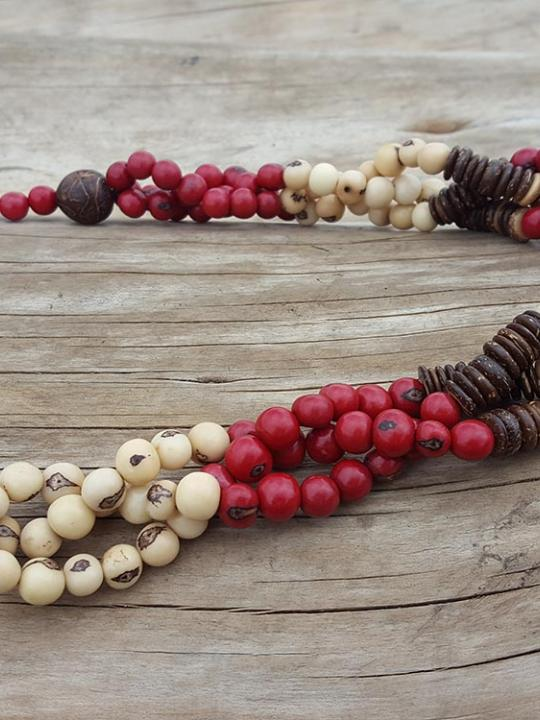 Necklace Strand Acai-Red & Cream