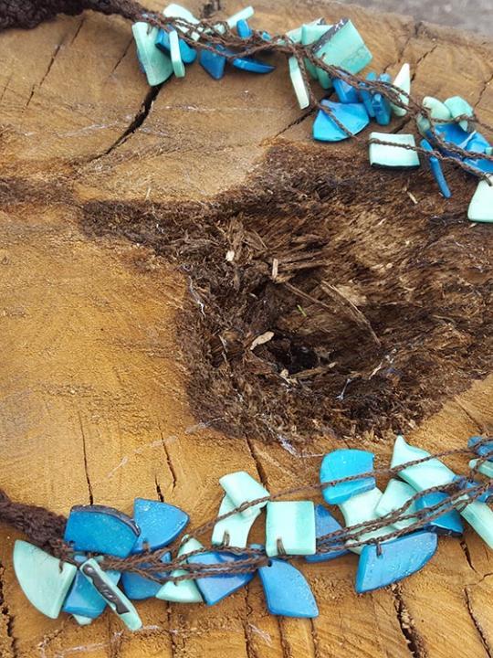 Necklace Tagua Turquoise & Aqua