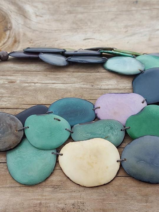 Necklace Tagua-Acai- Green Shade & Lavander