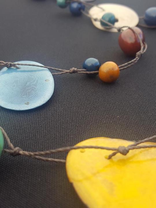 Necklace Tagua-Pambil-Acai multicolor