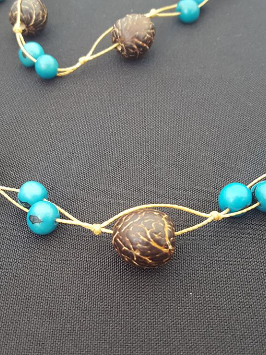 Necklace Pambil-Acai Brown & Blue