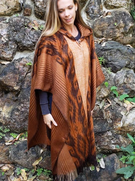 Alpaca Poncho Hooded Closed Cinnamon w/stripes