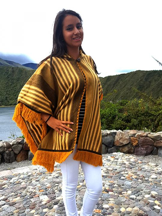 Alpaca Poncho Hooded Yellow